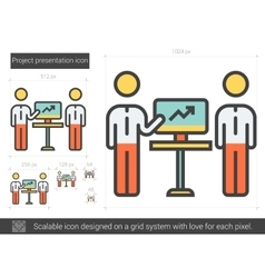 Project presentation line icon vector