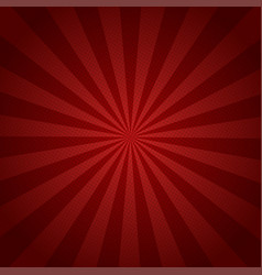 red rays retro background with halftones stylish vector image