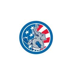 Republican Elephant Boxer Mascot Circle Cartoon vector image