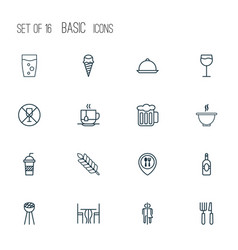 restaurant icons set with beer disposable tea wc vector image