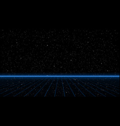 Retrowave blue laser perspective grid with bright vector