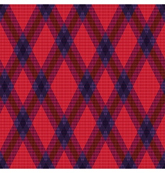 Rhombic tartan green and red fabric seamless vector