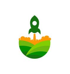 Rocket farm logo icon design vector