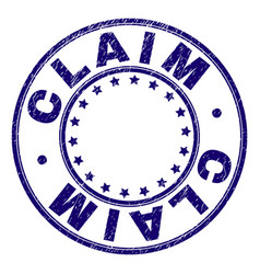 Scratched textured claim round stamp seal vector