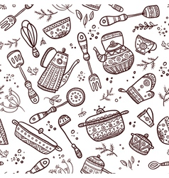 seamless pattern kitchen items vector image