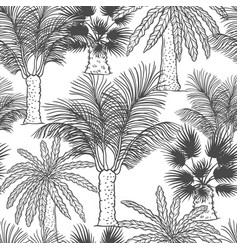 Seamless pattern of palmtrees different vector