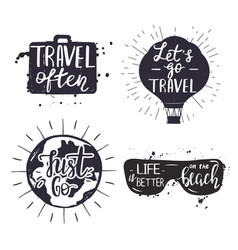 set bages with travel quotes vector image