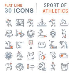 Set line icons sport athletics vector