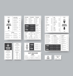 set menus for cafes and restaurants in the vector image