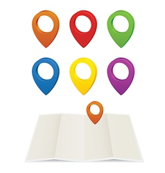 Set of glossy colorful map pins vector image