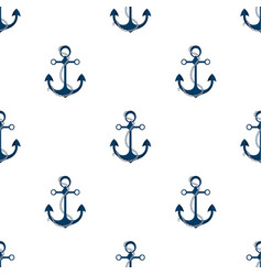 Ship anchor with chain marine seamless pattern vector