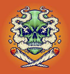skull smoking a marijuana for your work logo vector image