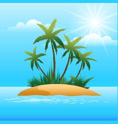 Small tropical island in the ocean vector