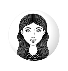 Sphere half body woman with long wavy hair vector