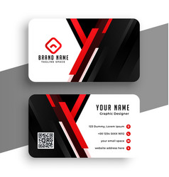 stylish red professional business card template vector image