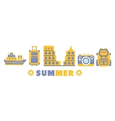 Summer Vacation Symbols Set By Five In Line vector image