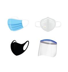Surgery mask and face shield set vector