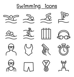 Swimming icon set in thin line style vector