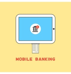 tablet pc with bank check like mobile banking vector image