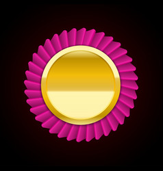 The pink golden badge medal vector