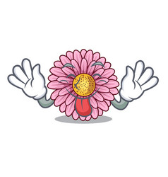 Tongue out gerbera flowers in the cartoon shape vector