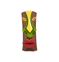Tribal ethnic mask carved wooden statue cartoon vector