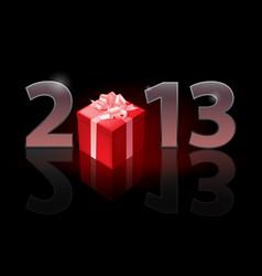 twenty thirteen year gift on black background vector image