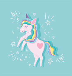 unicorn with rainbow hair stars dream magic animal vector image