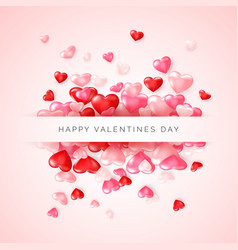 valentines day greeting card confetti glossy red vector image