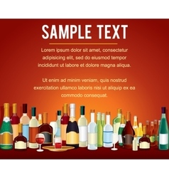 Various Alcohol Bottles in a Bar Counter vector
