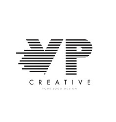 vp v p zebra letter logo design with black and vector image