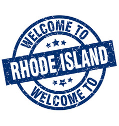 welcome to rhode island blue stamp vector image
