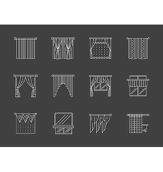 White flat line curtains decoration icons vector image