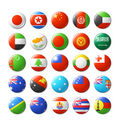 World flags round badges magnets asia and oceania vector