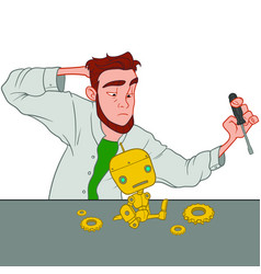Young scientist working on cute little robot vector