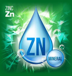 Zn zinc mineral blue drop icon vitamin vector