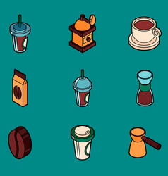 coffee colored outline isometric icons vector image