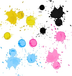 Colorful bright ink splashes vector image