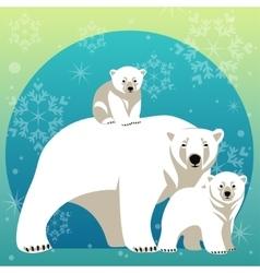 Greeting Card with Polar bear family vector image vector image