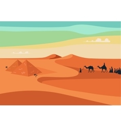 Group of People with Camels Caravan Riding in vector image