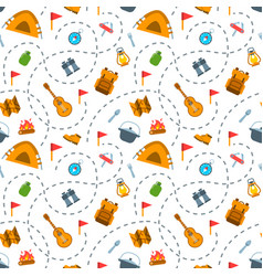 hiking tourism flat seamless background pattern vector image vector image