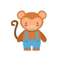 Monkey in blue pants with suspenders cute toy baby vector