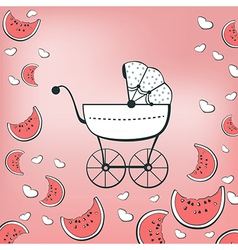 pink pram vector image vector image