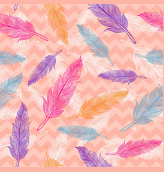 seamless colorful feathers pattern vector image vector image