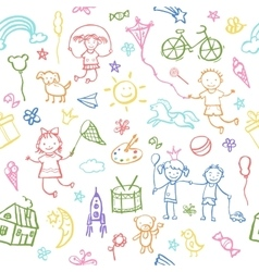Painted by hand in doodle style seamless pattern vector image