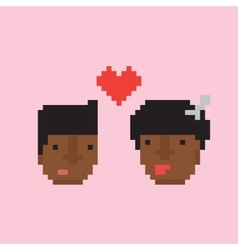 Pixel art style afro american couple in love vector image vector image