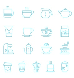 Thin lines icon set - coffee and tea vector image