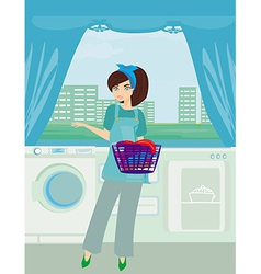 Young woman doing laundry at her home vector image