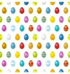 Bright colourful easter eggs on white seamless vector