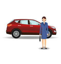 businesswoman on a luxury crossover car vector image vector image
